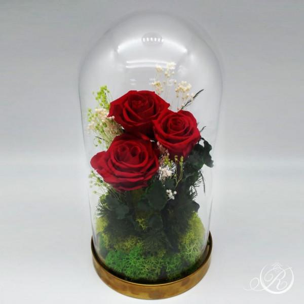 Три розы в колбе красные
