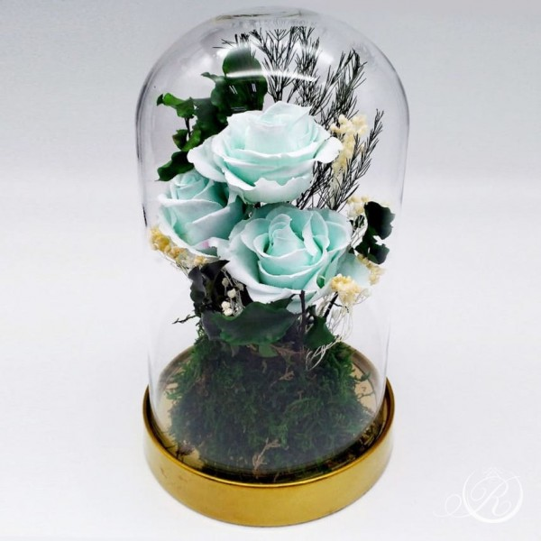 Три голубых розы в колбе Standart