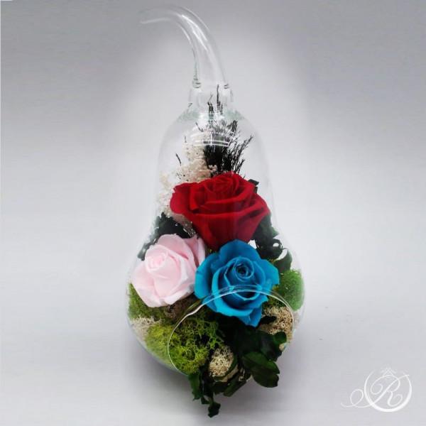"""Три розы в колбе """"Груша"""""""